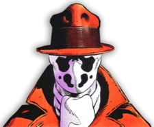 Rorschach, modeled after Steve Ditko's classic creation, The Question